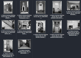 photographs of the Isaac Taylor House from the online catalog in the Library of Congress of Historic American Buildings surveyed in 1958